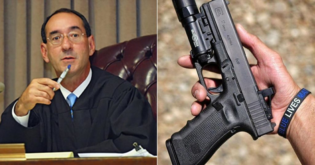 photo collage of Judge Benitez considering High Capacity ammo mag ban and semi-auto handgun photo
