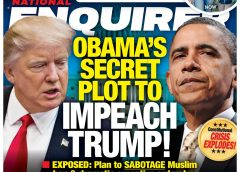 Cover image of National Enquirer Tabloid claiming that former President Obama has a secret plot to Impeach Donald Trump