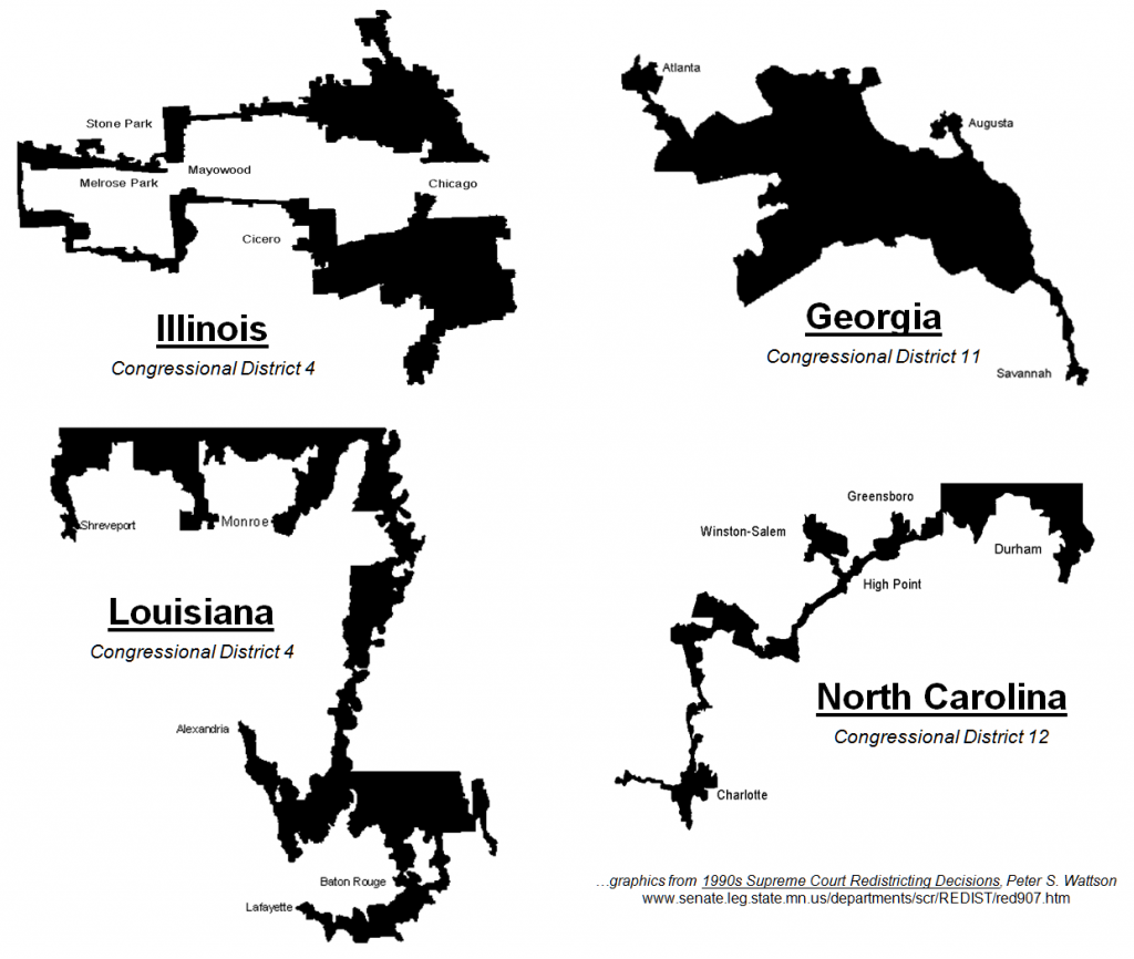 visual depictions of strangely constructed congressional districts
