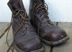 pair of vintage army lace up boots