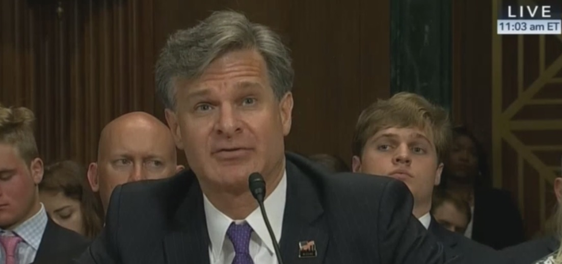 screen print of FBI Director nominee Christopher Wray during Senate testimony