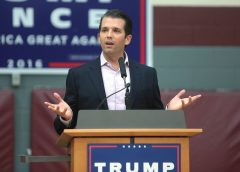 Donald Trump Jr. speaking at a campaign event for his father