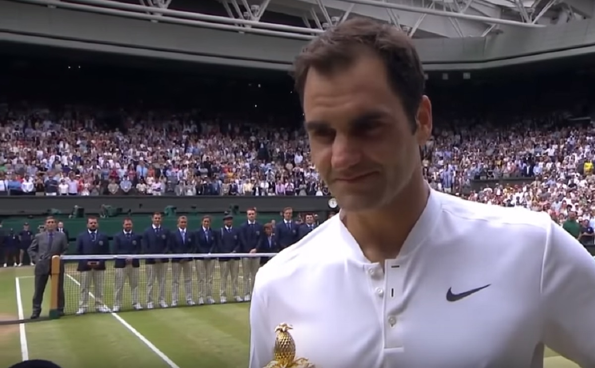 Roger Federer interviewed after Wimbledon finals win