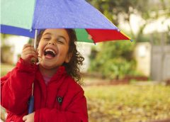 girl with red raincoat and umbrella laughing