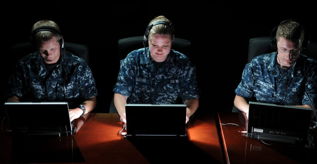 photo of military intelligence analysts sitting in front of laptop computers probing the command and control systems of North Korea and other adversaries.