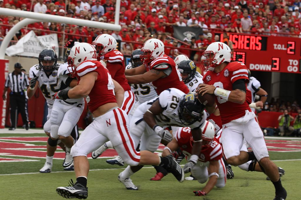 Nebraska Husker QB Taylor Martinez runs in a touchdown