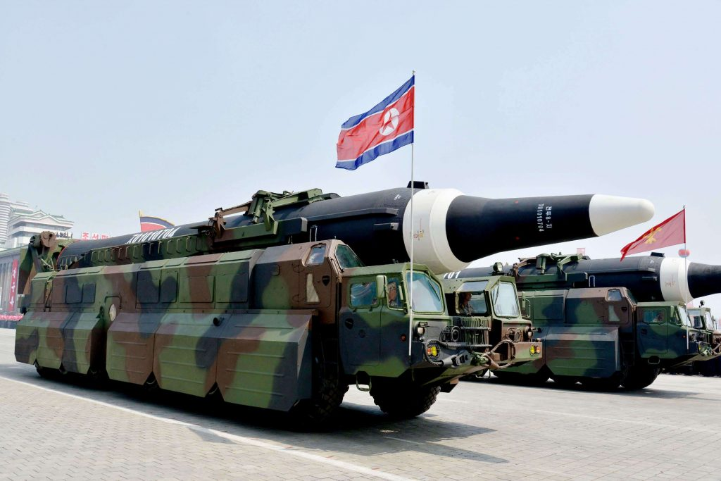 What appeared to be a KN-08 intercontinental ballistic missile, or an improved version of it, is pictured during a military parade at Kim Il Sung Square in Pyongyang on April 15, 2017, as North Korea marked the 105th anniversary of its founding leader's birth. (Kyodo)