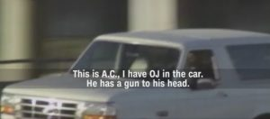 still image of the video of O.J. Simpson's Ford Bronco freeway chase
