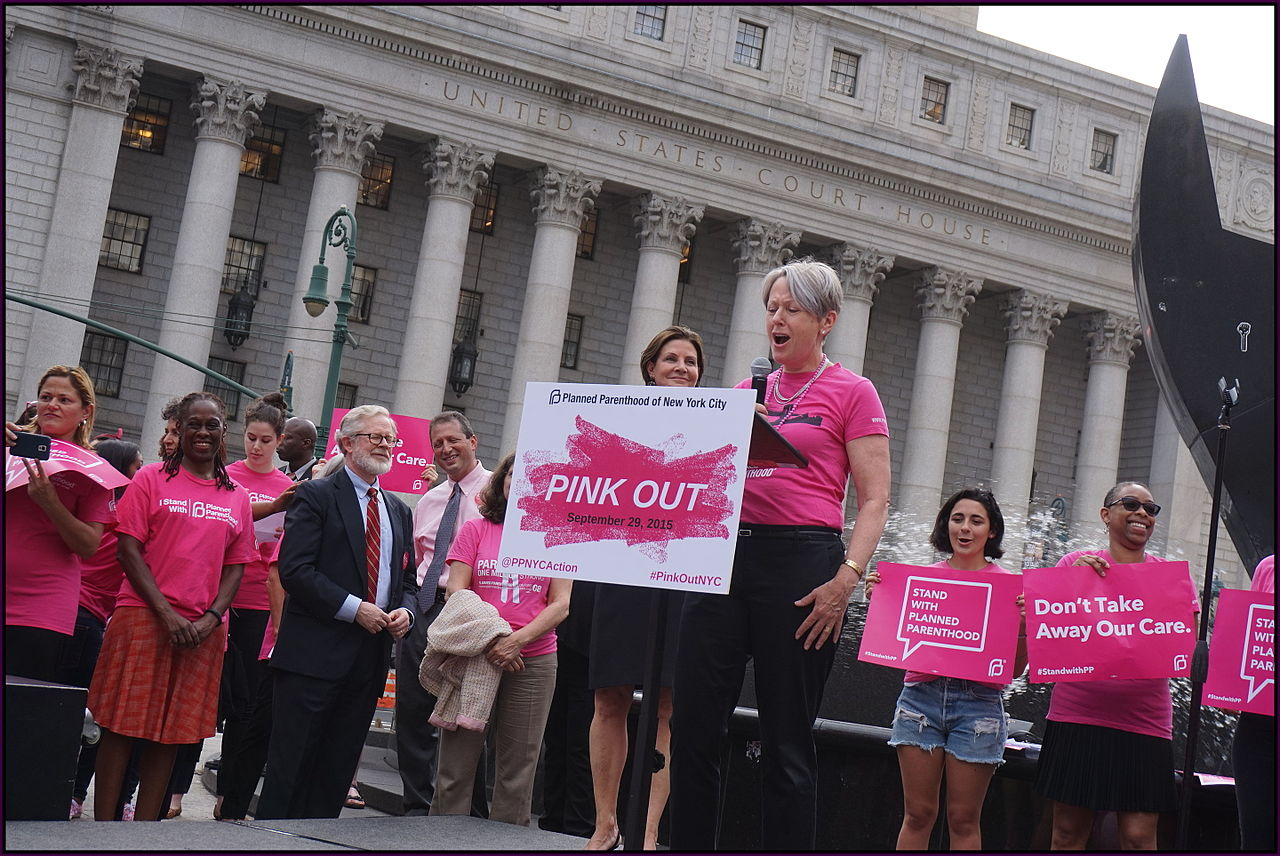 Code Pink activists stage protest on behalf of Planned Parenthood at US Capitol