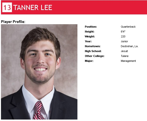 projected Nebraska Cornhusker starting quarterback Tanner Lee's player profile with stats