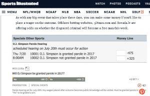 Las Vegas Betting Lines on O.J. Simpson's chances of obtaining parole