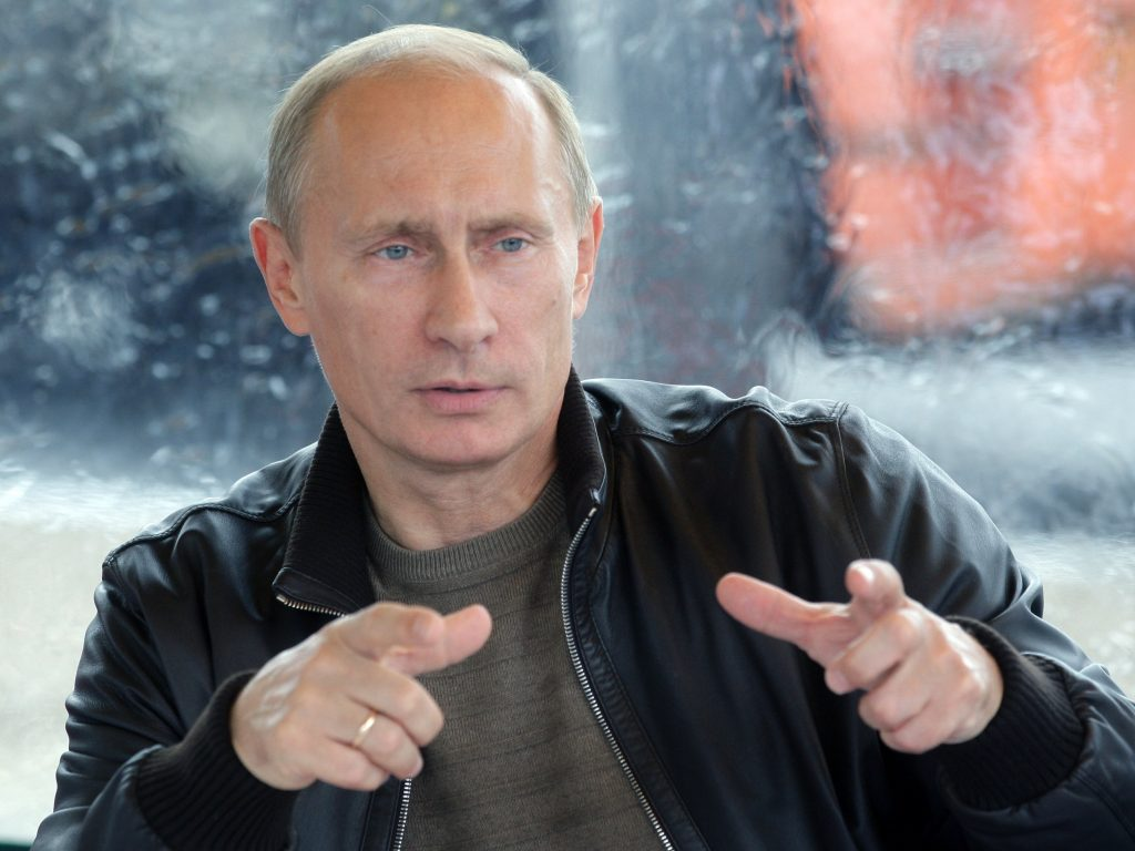 photo of Russian President Vladimir Putin in casual dress, leather jacket