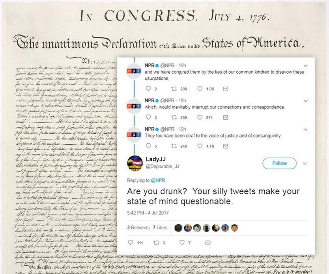 copy of Declaration of Independence with Trump supporters tweet overlay