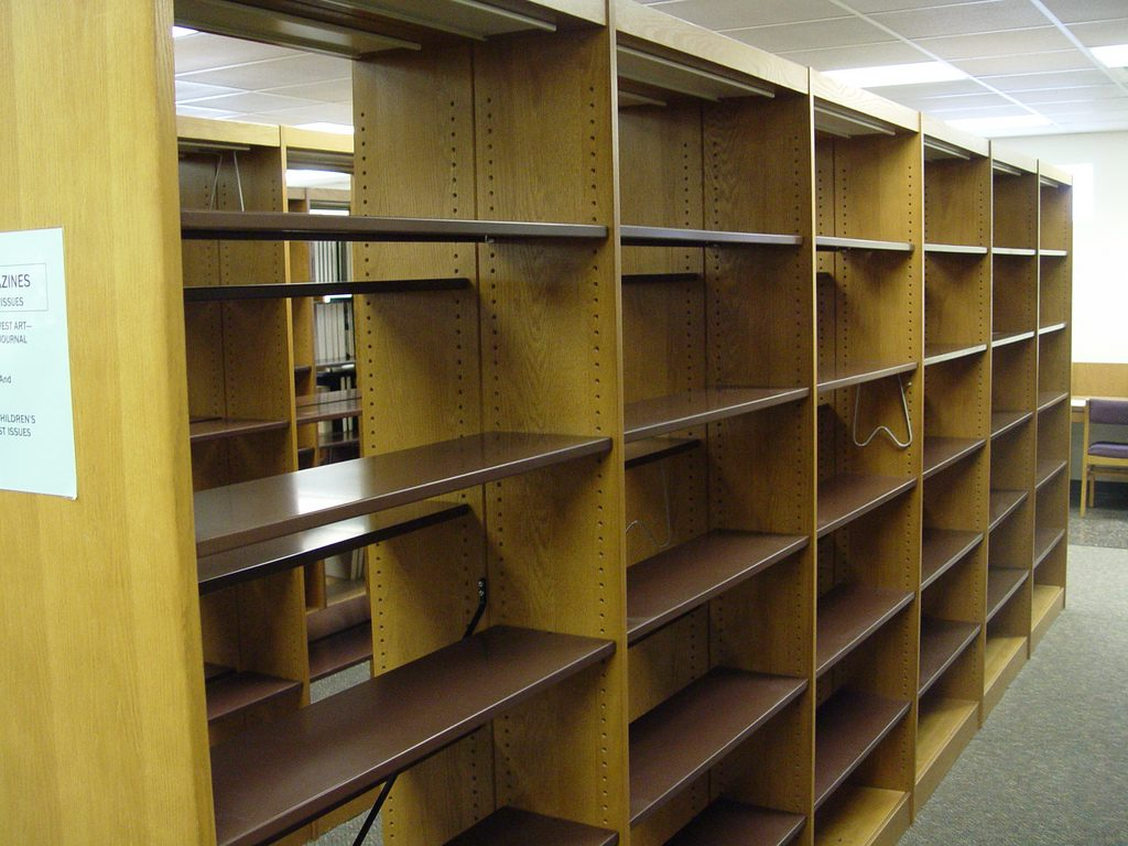 Empty Library Bookcases