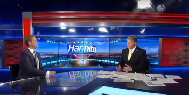 video screenshot of Eric Trump interviewed by Sean Hannity