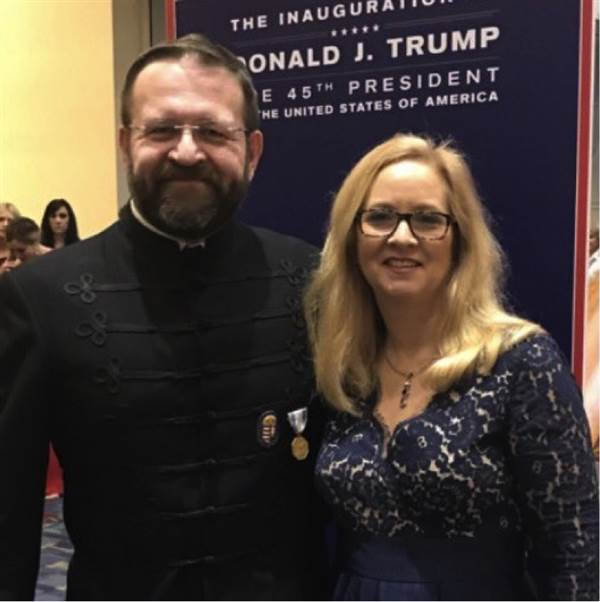 Sebastian Gorka, Trump admin assistant National Security advisor in photo with wife, wearing medal of the Order of Vitez - a fraternal group linked with the Nazis in Hungary during WWII