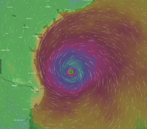 heat mapped image of the eye of tropical storm Harvey as it moves towards landfall on the Texas Gulf
