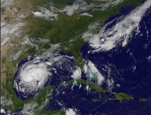 NOAA satellite photos of the path of Tropical storm Harvey