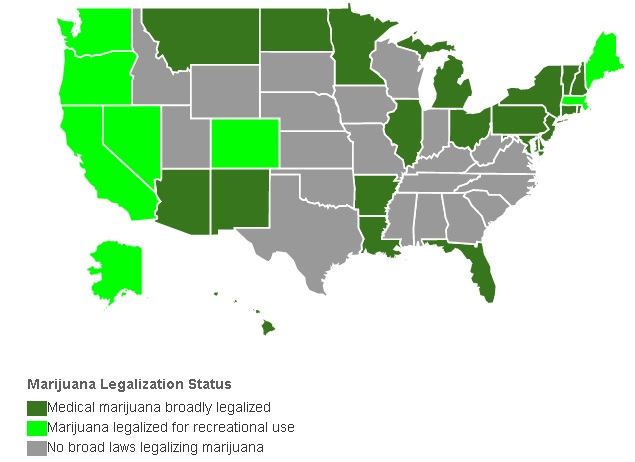 Map showing the status of marijuana legality in various states in the US