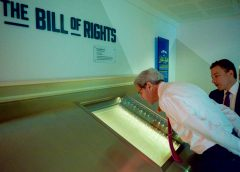 Senator Kerry looks at copy of Bill of Rights