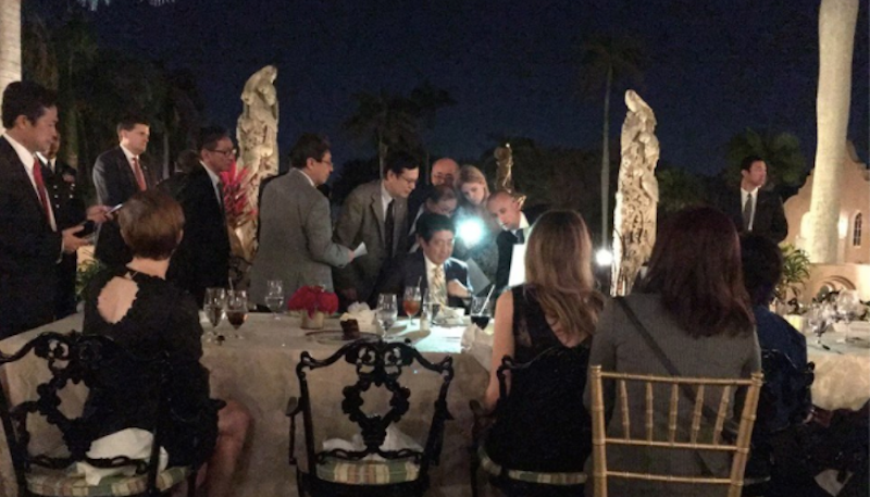 President Trump and Japanese Prime Minister Shinzo Abe in dinner meeting at Trump's resort Mar-al-Lago in February 2017