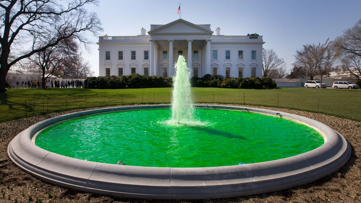 The water in the fountain on the North Lawn of the White House is dyed green in honor of St. Patrick's Day, March 17, 2011. (Official White House Photo by Chuck Kennedy)