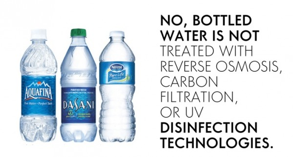 meme stating that Bottled water is not necessarily clean or safe unless treated