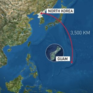 Guam is 3420 kilometers from North Korea.