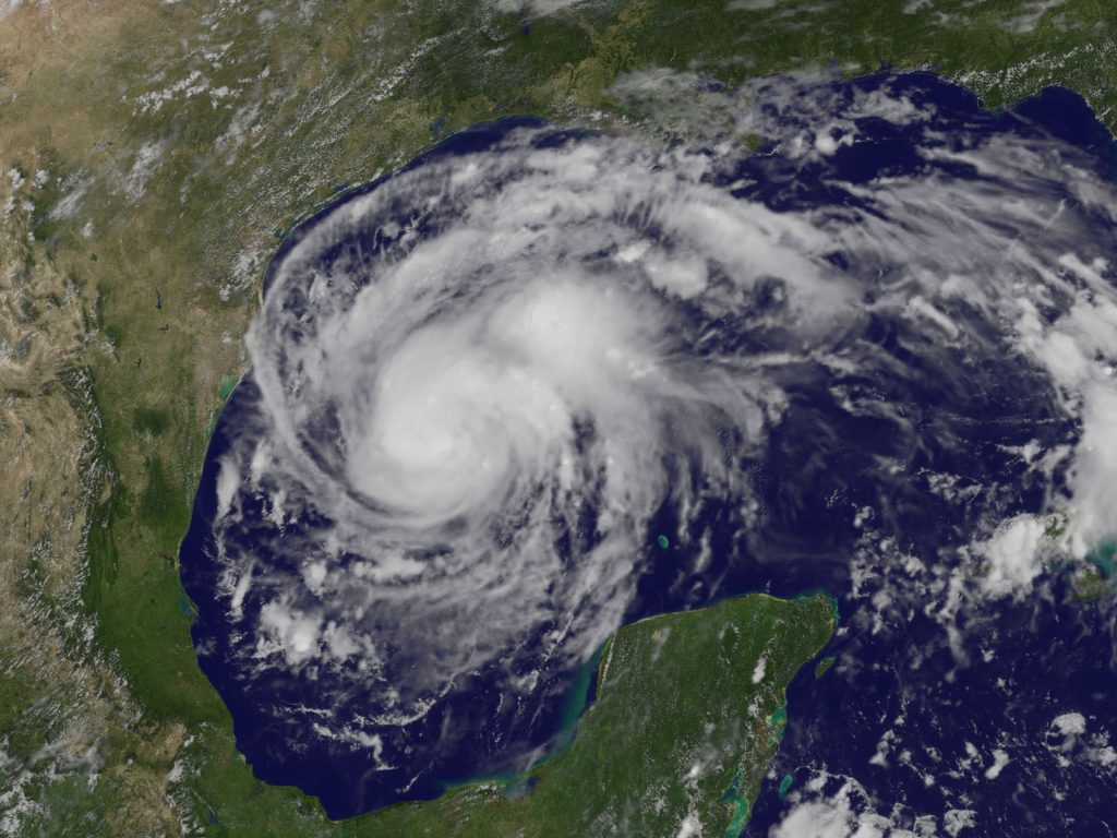 Hurricane Harvey on the coast of Texas - satellite image NOAA
