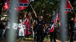 Klan and Nazi protesters.