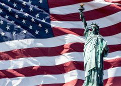 Lady Liberty and U.S. Flag