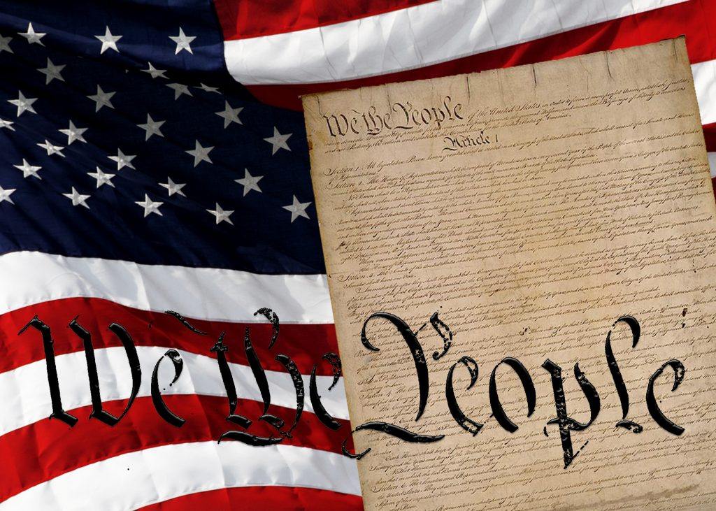 graphic image combining the American flag and the Declaration of Independance