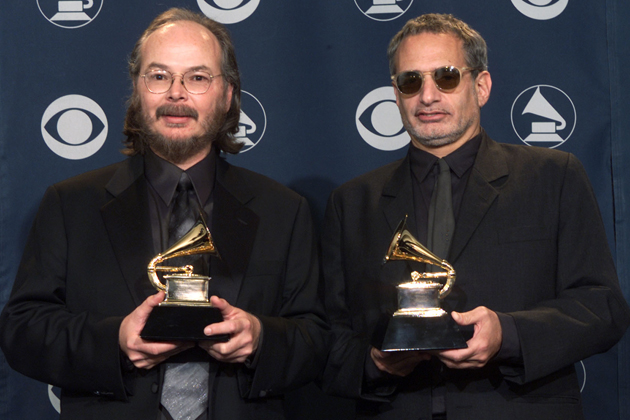 Walter Brecker, left, and Donald Fagen of Steely Dan pose backstage with Grammy they won for Best Pop Vocal Album at the 43rd Annual Grammy Awards at Staples Center in Los Angeles Wednesday, Feb. 21, 2001. They also won Best Pop Performance by a Duo or Group with Vocal and Album of the Year.