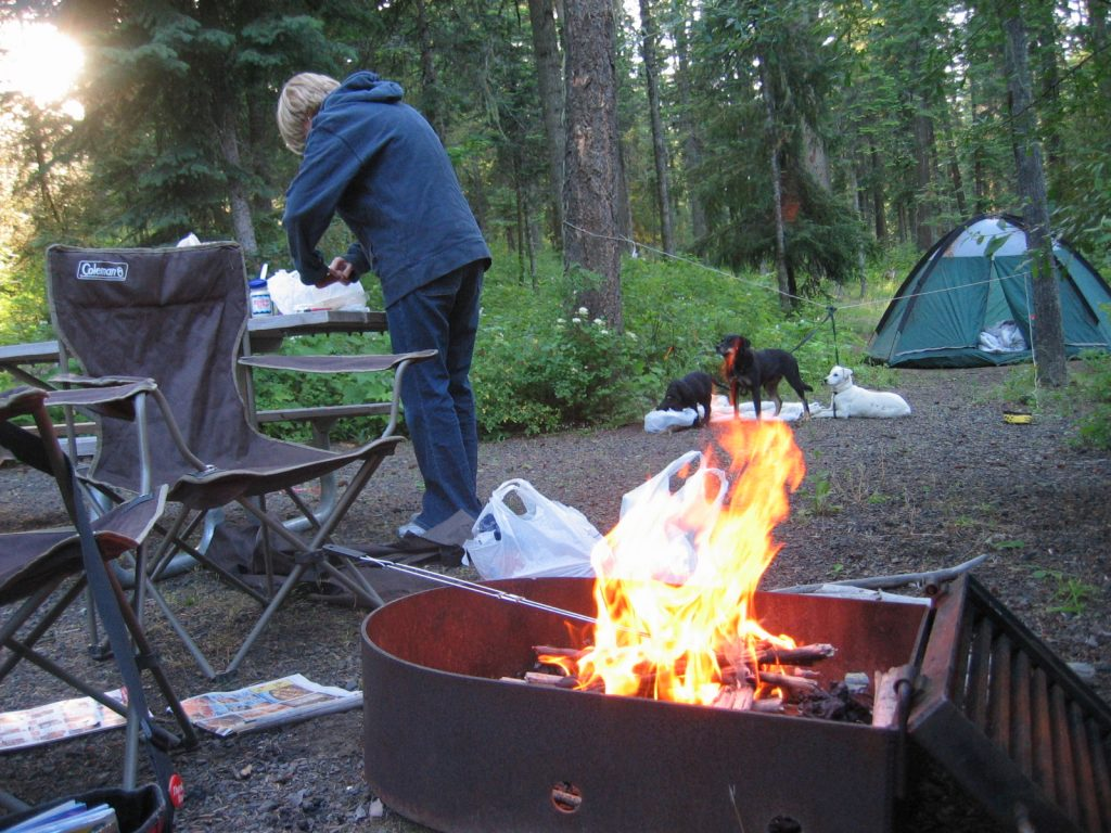 photo of a campsite and campfire