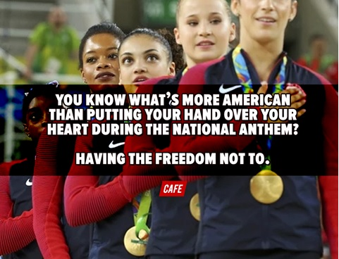 poster of athletes observing the National Anthem - but the accompanying text praises our right not to do so if we so choose