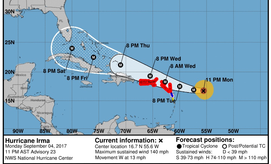 NHC - National Hurricane Center's most recent 0015 hrs EST, visualization of the predicted track of Hurricane Irma