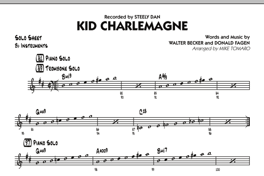 "music notations from Steely Dan's ""Kid Charlemagne"""