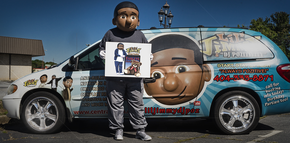 Phil Williams' Lil' Jimmy character with custom van and Lil' Jimmy graphics