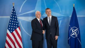 Photo - NATO Secretary General Jens Stoltenberg welcomed US Vice President Mike Pence to NATO Headquarters on Monday (20 February 2017)