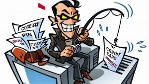 cartoon drawing of a cyber criminal with a fishing pole, 'phishing' for victim's personal data