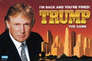"photo of the cover of Trump's board game ""Trump The Game"""