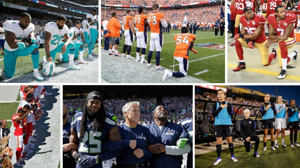 a collage of photo images of athletes - mostly NFL players kneeling during national anthem in pre-game ceremonies
