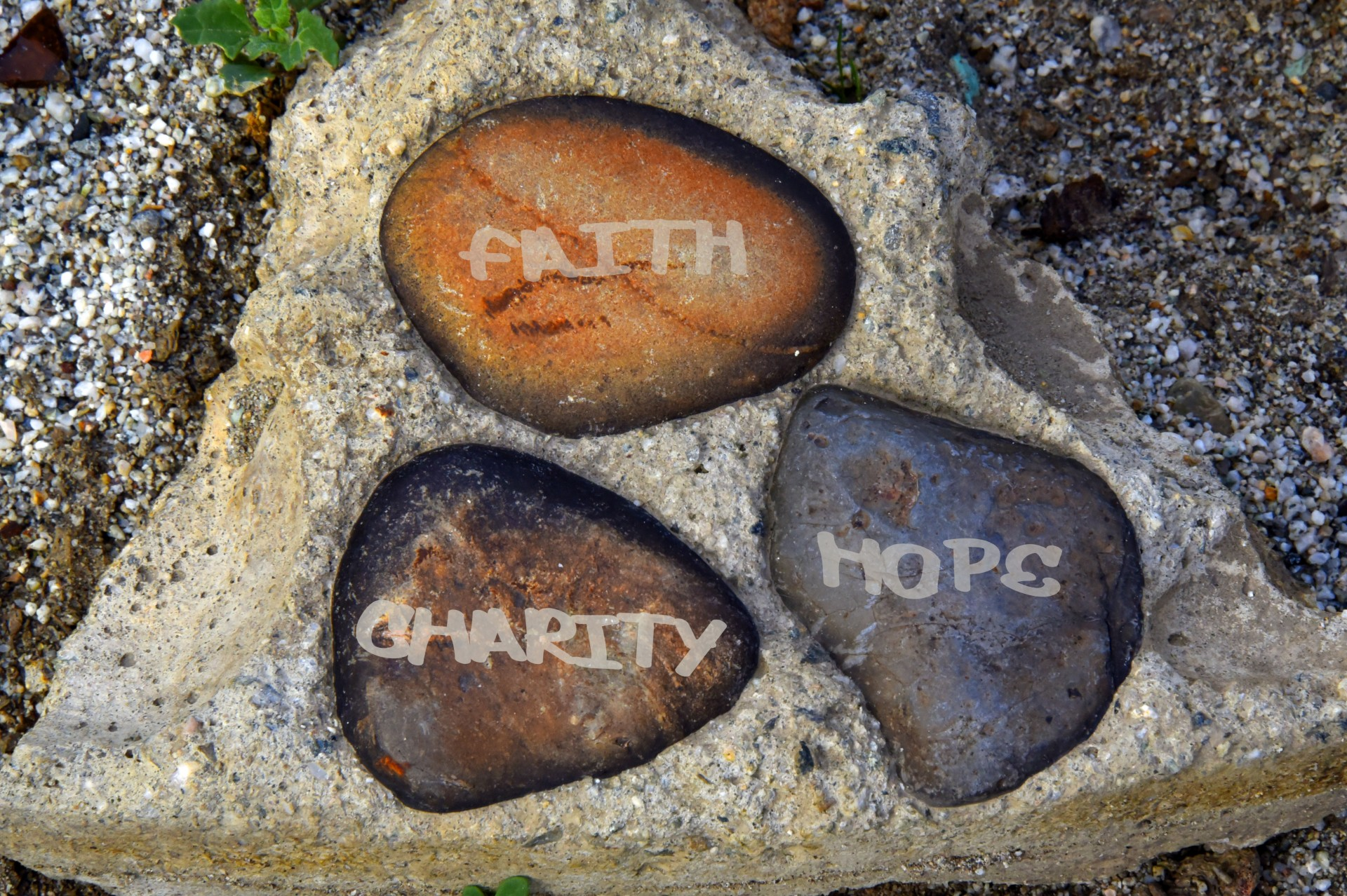 Faith, Hope, Charity stones
