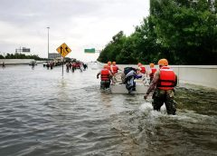 Rescue on flooded street