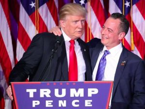 photo of Reince Priebus and Donald Trump at a Trump campaign rally