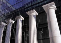 Pillars representing five styles of architecture