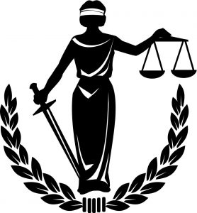 Artistic rendering of Lady Justice holding scales of justice