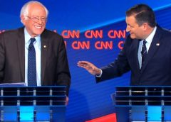 video still of Senator Bernie Sanders (I-VT) and Senator Ted Cruz (R-TX) at CNN town hall debate 10/18/2017