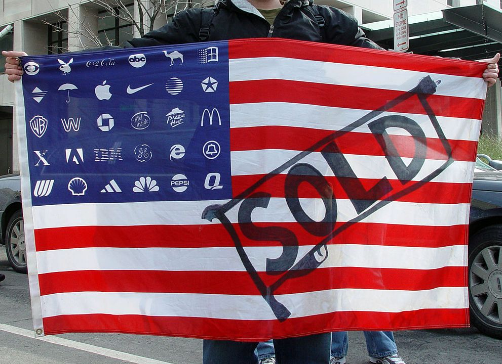 """Corporate Flag"" in which the Stars part of the flag are replaced with Corporate logos"