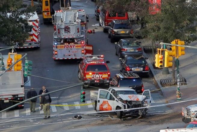 overhead of NYC truck terror crime scene